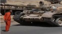 بالصور | داعش يعدم جندى مسيحى دهسا بالدبابة