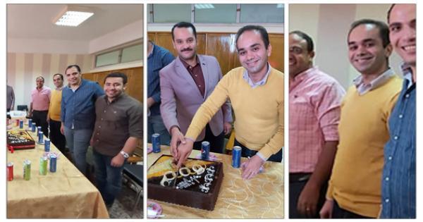 """""""قسم الكيمياء"""" بجامعة المنيا يحتفي بالدكتور """"ماركو يوسف"""" مدرس الكيمياء الحيوية..صور"""
