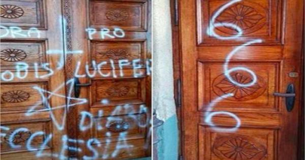 مخربون يُدنسون كنيسة مسيحية برموز شيطانية في بولندا