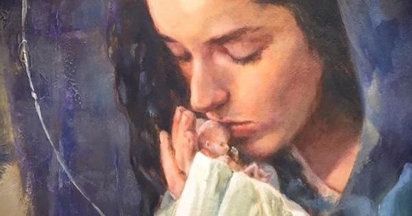 قصة صورة العذراء مريم التي تُقبّل طفل لم يولد بعد