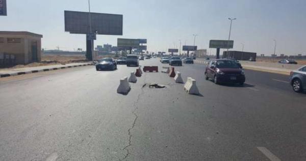 عاجل.. هبوط أرضي نهاية كوبري منشأة ناصر بالقاهرة
